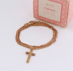 Vintage 1981 Signed Avon Cross Pendant Gold Tone Religious Christian Catholic Chain Choker Necklace in Original Box with PATINA on CHAIN by ThePaisleyUnicorn on Etsy