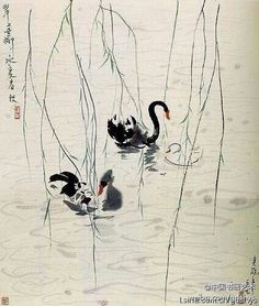 """【 吴冠中《天鹅湖》 】  """"岸上垂柳,水里春秋""""。垂柳、涟漪和黑天鹅情侣组成的画面,清新恬淡,充溢着沁人心脾的高雅情调,显示了中国美学一贯要求的空灵恬静的人文意义。"""