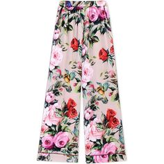 Dolce & Gabbana Casual Trouser ($1,265) ❤ liked on Polyvore featuring pants, light pink, wide-leg pants, floral wide leg trousers, pink wide leg pants, floral-print pants and pink pants