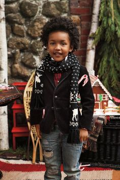 Festive accessories for Ralph Lauren Kids: adorable scarves crafted from a soft cotton blend.