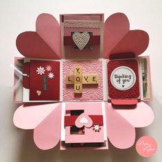 Items similar to Love Explosion Box // Love Exploding Box // Surprise exploding box card // Pink red explosion box card // Valentine explosion box on Etsy Valentines Bricolage, Valentines Diy, Diy Gift Box, Diy Box, Diy Birthday, Birthday Cards, Birthday Gifts, Boite Explosive, Box Surprise