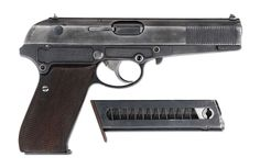 """A rare Berlin-Suhler Waffen und Fahrzeugwerke (""""BSW"""", formerly Simson & Companie) gas operated semi-automatic prototype serial number 9A, a competitor to the P.38 considered by the German military in the 1936-37 test trials. Several variations were assembled, and this double-action only version has a sheet metal slide, a matted alloy frame, and a single-column staggered 8-shot magazine. The pistol is unmarked on the left side of the slide."""