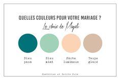 Idée originale de couleurs pour votre mariage et décoration de tables de mariage - bleu paon + bleu mint + pèche lumineux + taupe glacé // papeterie pastilles et petits pois
