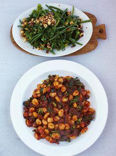 Sausage gnocchi with warm kale & bean salad Read more at http://www.jamieoliver.com/recipes/pork-recipes/sausage-gnocchi-with-warm-kale-bean-salad/#5VyDg78tB2KiA88p.99