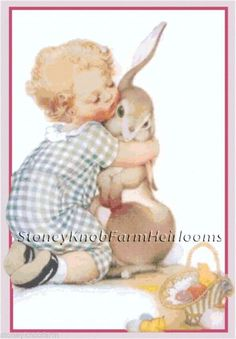 Bunny Hug ~ Vintage Easter ~ Counted Cross Stitch Pattern #SKFHeirlooms #CountedCrossStitch
