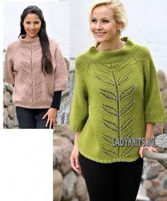 Вязаный спицами красивый женский свитер