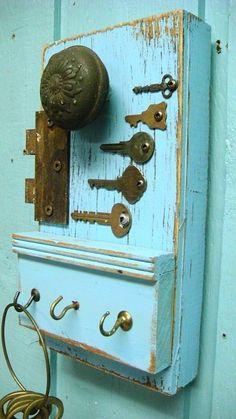 Periwinkle Blue Hook Key Holder, Vintage Hardware and Keys. $38.00, via Etsy.