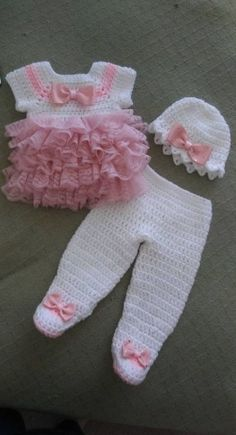 White crochet baby dress set with pink lace ruffles.fits newborn to 3 months.ready to ship White crochet baby dress set with pink lace ruffles.fits newborn to 3 months.ready to ship Crochet Baby Pants, Baby Girl Crochet, Baby Blanket Crochet, Crochet Clothes, Baby Pants Pattern, Knitting Baby Girl, Pull Bebe, Baby Pullover, Crochet Bebe