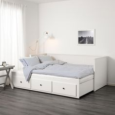 IKEA Hemnes day bed frame with three drawers. Can be a single day bed or a king size bed when opened out.Condition is Used. Banquette Ikea, Banquette 2 Places, Hemnes Day Bed, Ikea Hemnes Daybed, Day Bed Frame, Corner Bed Frame, Bed Frames, Japanese Bed, Minimalist Bedroom