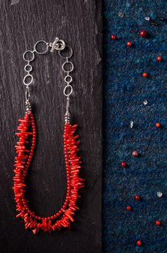Red Coral Necklace by Mamsthings on Etsy, €25.55
