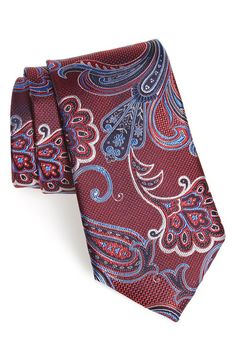 pure silk Battisti Pocket Square Red with yellow paisley