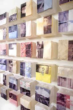Eun-Kyung Suh • 2011 • Fragmentary Memory • Fabrics from estate sales, thread, fabric transfer, images from estate sale houses • 3.5x3.5x2.5 (each box)