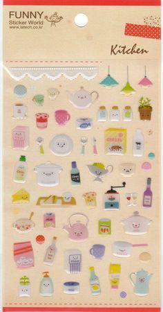 Kawaii Korean Super Cute Kitchen Theme Epoxy Stickers - Perfect for scrapbooking, card-making, dairy, journaling, etc.