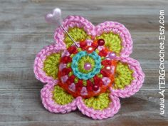 Crochet Flower Pincushion Pattern : Crochet pincushions on Pinterest Crochet Pincushion, Pin ...