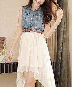 denim & asymmetrical skirt