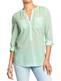 Women's Long-Sleeved Gauze Shirts old navy