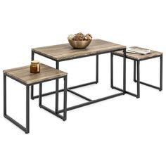3-Piece Nesting Coffee and End Table Set – Best Choice Products