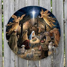 CHRISTMAS MANGER NATIVITY SCENE ROUND METAL SIGN