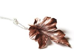large forged copper maple leaf pendant on silver chain (3)… | Flickr