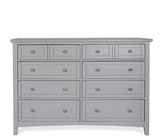 Atlantic 8-Drawer Dresser - Grey - Clean and simple style, the Atlantic bedroom collection is constructed of polar solids and maple veneers. 8-drawer dresser is stocked in a grey painted