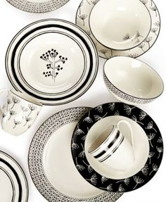 Lenox Dinnerware, Around The Table Collection, cute Scandinavian inspired black and white dishes, Macy's Wedding Registry