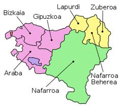 The Seven Provinces Of The Basque Country As Claimed By Certain Basque Sectors Span France Light Yellow And Spain Rest Of T Basque Country Basque Gipuzkoa