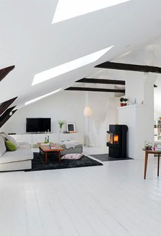 'Minimal Interior Design Inspiration' is a biweekly showcase of some of the most perfectly minimal interior design examples that we've found around the web - Attic Renovation, Attic Remodel, Attic Living Rooms, Living Spaces, Attic Spaces, Small Attic Bedrooms, Living Area, Interior Design Examples, Interior Design Inspiration