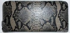 Portolano Leather Python Print Zip Accordion Checkbook Clutch Wallet Gray Black | eBay $35 Free US Ship!