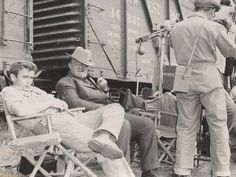 Newly discovered photos from the set of East of Eden! JD and Burl Ives kickin' back.