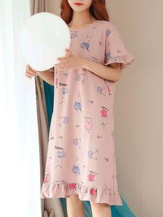 Romwe Ruffle Trim Animal Print Sleep Dress Source by rfajaria outfits sleep Cute Sleepwear, Girls Sleepwear, Pajama Outfits, Girly Outfits, Pijamas Women, Night Dress For Women, Dress Night, Indian Gowns Dresses, Sleep Dress