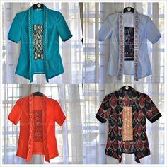 Kutubaru with embroidery and tenun ikat pattern Kebaya Lace, Batik Kebaya, Blouse Batik, Batik Dress, Indonesian Kebaya, Modern Kebaya, Batik Fashion, Women's Fashion, International Clothing
