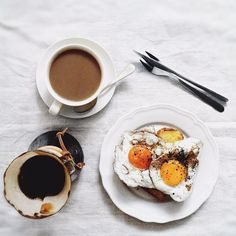 eggs on toast and coffee.