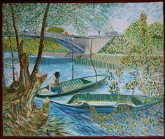 Naar Vincent van Gogh, Vissersboten bij de Pont de Clichy (Parijs, Frankrijk). Olieverf op doek, 50x60 cm, door Annerieke Smits-Vermeulen, 2015.
