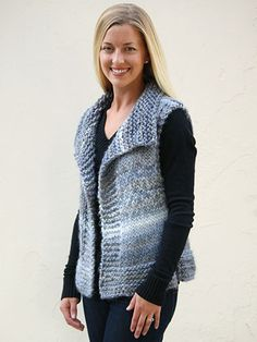 This ultracozy vest is not only truly versatile and great for year-round wear, it's a simple and a joy to knit! Knit with 4 (4, 5, 5, 6) skeins of Universal Yarn Classic Shades Big Time using U.S. size 17/12.75mm needles.