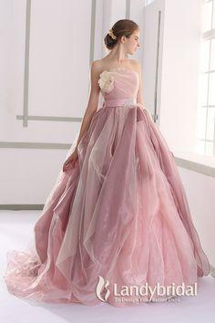 カラードレス プリンセス 取り外し式ベルト ビスチェ ピンクベージュ アイスオーガンジー JUL015002