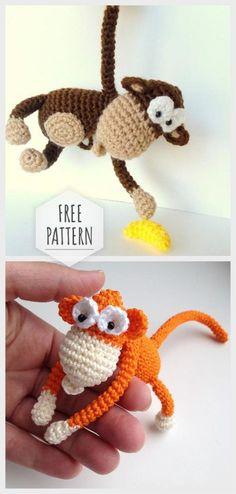 Little Crochet Toy Monkey Pattern - Amigurumi Crochet Monkey Pattern, Crochet Patterns Amigurumi, Amigurumi Doll, Crochet Dolls, Toy Monkey, Crochet Decoration, Crochet For Beginners, Crochet Gifts, Crochet Designs