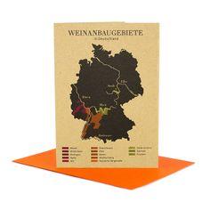 Greeting card with German wine growing regions design and neon envelope
