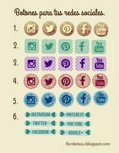 Freebie: Botones para redes sociales. Free Social Media Icons Buttons