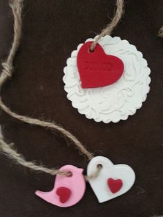 Very pretty Polymer clay DIY Valentine's Day tags / ornaments! Be creative and prepare something similar yourself and make your Valentine feel special with your crafts. Have a look at our Polymer clay range; we have Sculpey and Fimo. For making something similar you will need push moulds, heart cutters, detail tools and ribbon. More inspiration and plenty of supplies from http://www.craftmill.co.uk/