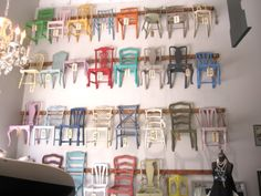Love this fabulous chair wall to show all the annie sloan chalk paint colors!