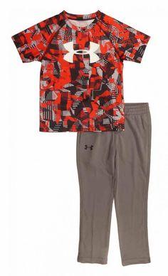 f10ebc0699 Under Armour Boys Printed Dry Fit Logo Top 2pc Pant Set Size 4  fashion