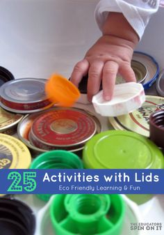 Recycling activity: 25 Activities with Lids. Eco Friendly Learning and Fun from The Educators' Spin On It Fun Activities For Kids, Educational Activities, Preschool Activities, Crafts For Kids, Infant Activities, Nursery Activities, Preschool Music, Indoor Activities, Kindergarten Classroom