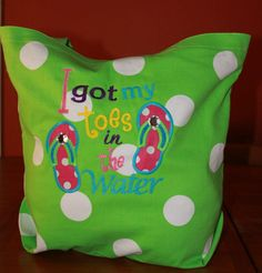 I got my toes in the water appliqued canvas tote by KenaKreations, $24.00
