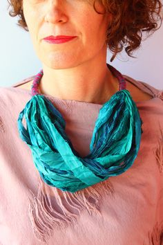 Petrol green fabric necklace, silk necklace, blue green textile necklace, silk layered scarf, statement necklace, spring gift by kokona on Etsy