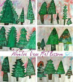 kindergarten art education lesson winter trees pastels paint glitter