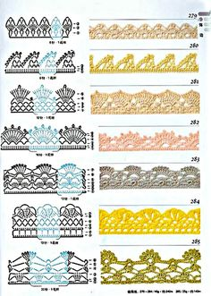 Check out the diagrams and learn to make more than 150 points, (crochet edgings) with images. There are several crochet borders that can be applied in various crochet projects. Choose your favorites… Crochet Border Patterns, Crochet Boarders, Crochet Lace Edging, Crochet Diagram, Crochet Chart, Thread Crochet, Filet Crochet, Crochet Designs, Easy Crochet