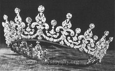 """Queen Mary's Girls of Great Britain and Ireland tiara - one of the Queen's favourites - referred to as """"Granny's Tiara"""" - wedding gift to Princess Elizabeth by her grandmother, Queen Mary, in 1947 - originally given to Princess Mary of Teck (later Queen Mary) as wedding present in 1893 by a committee started by Lady Eve Greville which raised over £5,000 from the """"Girls of Great Britain and Ireland"""" and commissioned the tiara from Garrards"""
