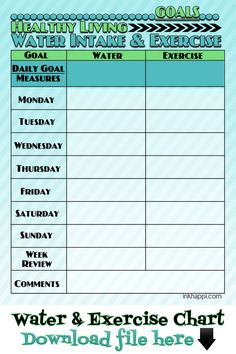 HEALTHY GOALS: Water intake and exercise chart