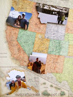 Use a map as the background and cut out pictures in the shape of the state they were taken in.