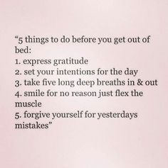 5 things to do before getting out of bed Christian Meditation, Good Morning World, Breathing Techniques, Getting Out Of Bed, Forgiving Yourself, Stressed Out, Note To Self, Me Time, Helping Others